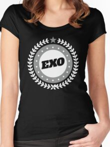 EXO LOGO Badge - White Women's Fitted Scoop T-Shirt