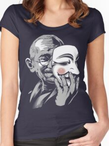 DISOBEY - Gandhi Putting on Guy Fawkes Mask Women's Fitted Scoop T-Shirt