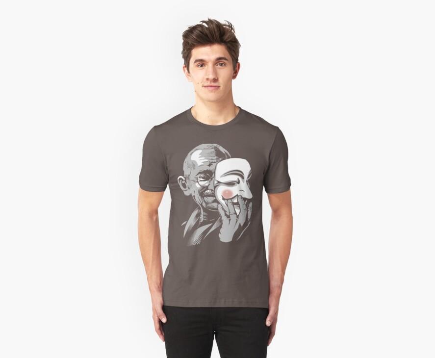 DISOBEY - Gandhi Putting on Guy Fawkes Mask by jimiyo
