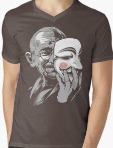 DISOBEY - Gandhi Putting on Guy Fawkes Mask Mens V-Neck T-Shirt