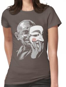 DISOBEY - Gandhi Putting on Guy Fawkes Mask Womens Fitted T-Shirt