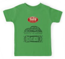 VW Beetle Tech Drawing Top Kids Tee