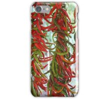 Strung and Hanging Red and Green Chili Peppers Drying iPhone Case/Skin