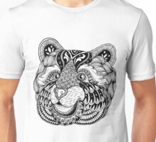 Zentangle bear portrait. Unisex T-Shirt