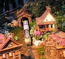 Model Train, Model Buildings, New York Botanical Garden Train Show, Bronx, New York  by lenspiro
