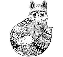Zentangle fox portrait. Photographic Print