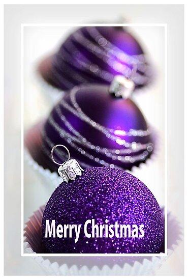 Merry Christmas - Purple Baubles by Joy Watson