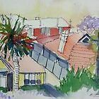 Rooftops and Jacarandas by Barbara Gray
