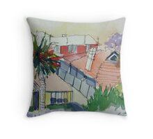 Rooftops and Jacarandas Throw Pillow