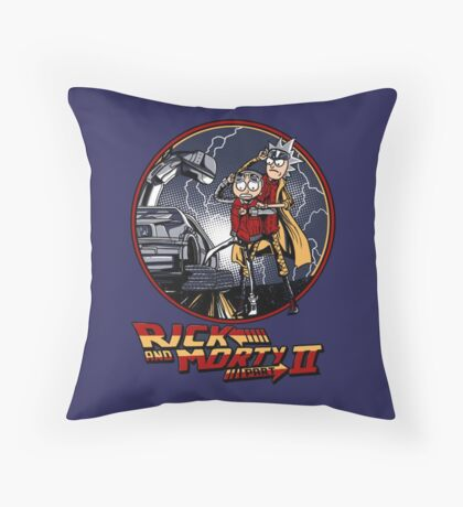 rick and morty back to the future  Throw Pillow