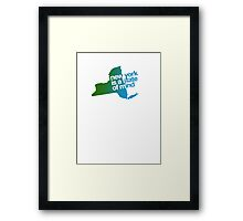 New York is a state of mind - Green/blue Framed Print