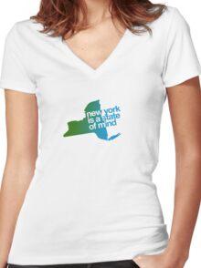 New York is a state of mind - Green/blue Women's Fitted V-Neck T-Shirt
