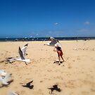 Chasing Gulls by wyvernsrose