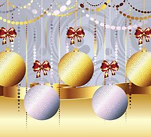 Gold and White Xmas Balls 3 by AnnArtshock
