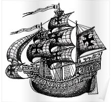Tall Ship black and white pen ink drawing Poster