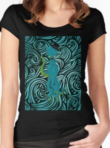 Top Hat Octopus -Wave pattern Women's Fitted Scoop T-Shirt