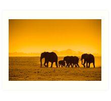 Silhouettes of elephants Art Print