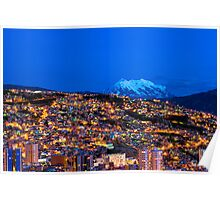 Panorama of La Paz of night, Bolivia Poster