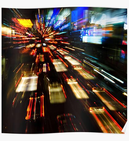 Traffic lights in motion blur Poster