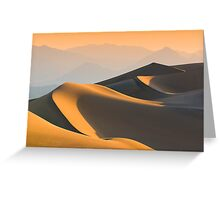 Sand dunes over sunrise sky in Death valley, California Greeting Card