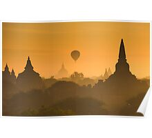 Sunrise over ancient Bagan, Myanmar Poster