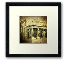 Vintage image of Caryatids, Acropolis, Athens, Greece Framed Print