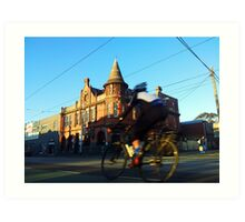 Perseverance Hotel and Cyclist (Fitzroy, Melbourne) Art Print