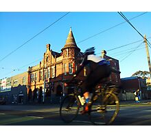Perseverance Hotel and Cyclist (Fitzroy, Melbourne) Photographic Print