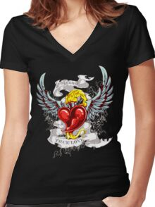 Flaming Heart Women's Fitted V-Neck T-Shirt