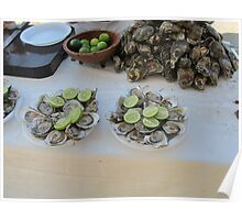 Fresh oysters with lime at the Malecón, Olas Altas Beach - Ostiones frescos, Puerto Vallarta, Mexico Poster