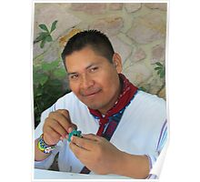 Young and Proud Huichol pasting Beads - Orgulloso Joven Huichol pegando Perlitas  Poster
