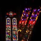 France. Montpellier. Cathedral. Stained Glass Window & Reflection. by vadim19