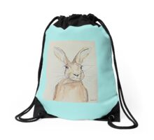 Hop Hare ears pricked up Drawstring Bag