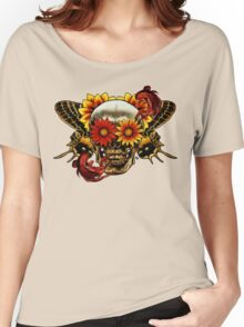 Skull In Bloom. Women's Relaxed Fit T-Shirt
