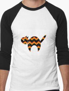 Halloween, Cat Silhouette, Animal Art, Chevron, Halloween Decor Men's Baseball ¾ T-Shirt