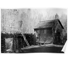 The Old Mill in Black & White Poster