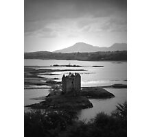 Port Appin Castle View, Scotland (Black and White) Photographic Print
