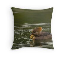 Hooded Merganser female with catch Throw Pillow