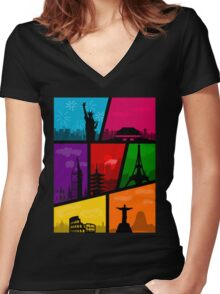Cities of the World Women's Fitted V-Neck T-Shirt