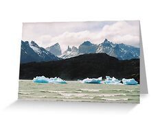 Chile, Torres Del Paine scenery, glacial ice floating, snow capped mountains in the background Greeting Card