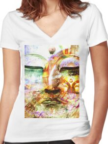 Buddha, Baby Women's Fitted V-Neck T-Shirt