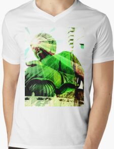 Green Buddha Mens V-Neck T-Shirt