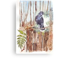 Crow loves the forest Canvas Print
