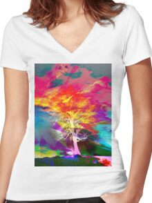 One Tree Thrice - DOS Women's Fitted V-Neck T-Shirt