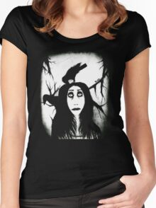 Her eyes so innocent... on hallowed ground. Women's Fitted Scoop T-Shirt
