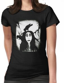 Her eyes so innocent... on hallowed ground. Womens Fitted T-Shirt