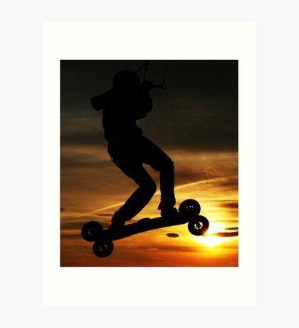 Kiteboarder flying through the Sunset. Art Print