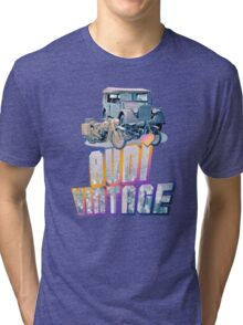 Vintage Audi car and Motorcycles Tri-blend T-Shirt