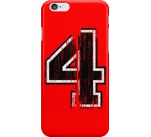 Bold Distressed Sports Number 4 iPhone Case/Skin