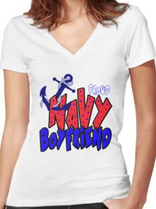 Proud Navy Dad Women's Fitted V-Neck T-Shirt